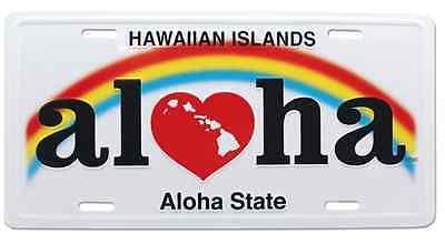 Hawaiian Aloha State Novelty License Plate Hawaii Rainbow Island Decor Tiki Bar