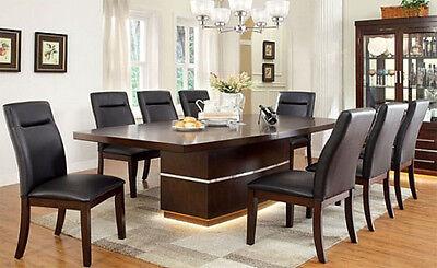 NEW 9PC BRONSON FORMAL CONTEMPORARY DARK CHERRY FINISH WOOD DINING TABLE SET Dark Cherry Finish Dining Table