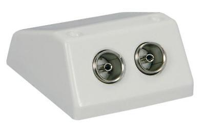 AV Link 121.804 TV Antenna Surface Wall Mount Double Coaxial Socket White 75 Ohm Surface Mount Antenne