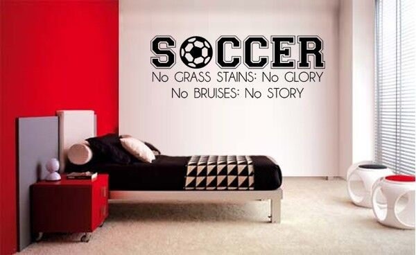 SOCCER NO GRASS STAINS VINYL WALL DECAL LETTERING DECAL DECO
