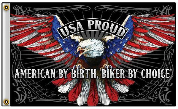 AMERICAN BY BIRTH BIKER BY CHOICE EAGLE 3 X 5 MOTORCYCLE DELUXE FLAG #771 NEW