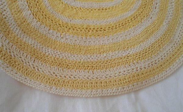 Vintage Yellow & Cream Crochet Lace Doily Placemat