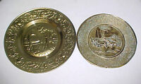 2 Vintage English Brass Horses & Stagecoach Wall Plaques~Game Ro