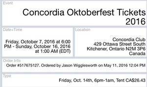 Two Concordia Club Tickets for Oct 14th $20 each Kitchener / Waterloo Kitchener Area image 1