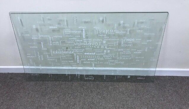 Ikea Vika Glasholm Love Text Glass Table Top In