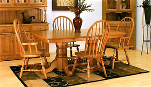 Andover Double Pedestal Oak Table & Chairs