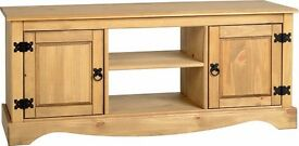 "New Solid 4 ft Corona Mexican pine wide 2 door 2 shelf TV cabinet suits up to 52"" TV, IN STOCK"