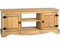 "New Solid 4 ft Corona Mexican pine wide 2 door 2 shelf TV cabinet suits up to 52"" TV, IN STOCK"