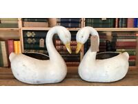 Pair Of Cast Iron Swan Planters