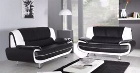 BLACK AND RED OR WHITE - Brand New Italian Double Padded Faux Leather Carol 3 + 2 Seater Sofa