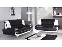 BRAND NEW CAROL 3+2 SEATER LEATHER SOFA - IN BLACK RED WHITE AND BROWN COLOR