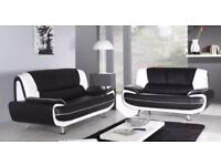 【💖🔵💖 BUY WITH CONFIDENCE 💖🔵💖】CAROL 3+2 SEATER LEATHER SOFA - BLACK RED WHITE AND BROWN COLOR