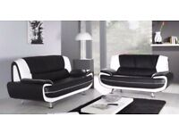 GERMAN LEATHER QUALITY**CAROL 3 AND 2 SEATER SOFA** IN BLACK AND RED WHITE & BLACK