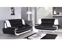 BRAND NEW --- LEATHER CAROL 3 +2 SEATER SOFA AVAILABLE IN RED AND BLACK OR WHITE & BLACK