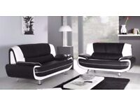 ❋★❋ HIGH QUALITY ❋★❋ FAUX LEATHER BLACK AND RED CAROL SOFA SUITE - SAME DAY FAST DELIVERY