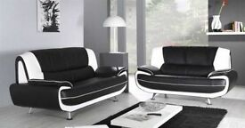 FAUX LEATHER 3 AND 2 SEATER SOFA IN BLACK AND RED BROWN AND WHITE COLOUR