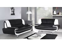 RED AND BLACK 3 AND 2 SEATER SOFA AVAILABLE IN 2 MORE COLOURS WHITE AND BLACK DARK BROWN COLOUR