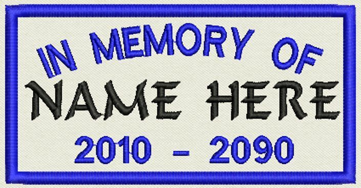 """Set of 12 In Memory Rectangle Name Tag, Biker Patch, badge 4.5"""" x 2.5"""""""