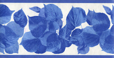MARIMEKKO MODERN BLUE LEAVES ON WHITE  WALLPAPER BORDER
