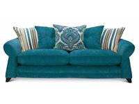 DFS Large Four Seater Teal Chenille Sofa
