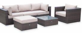 Caligari 5 Seater Rattan Garden Furniture Sofa Set Table, brown weave, SET#1