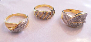 3 X WOMEN'S TWO TONE GOLD & CRYSTAL FASHION RINGS SIZE 10
