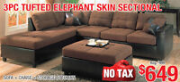 3pc Tufted Elephant Skin Sectional Set, $649 Tax Included!!