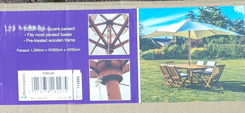 Kingfisher 3m X 3m Wooden Parasol In Cream In Bournemouth Dorset Gumtree