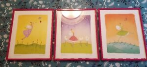 Girls Room Décor - Set of 3 Fairy themed prints set in 8x10 pink