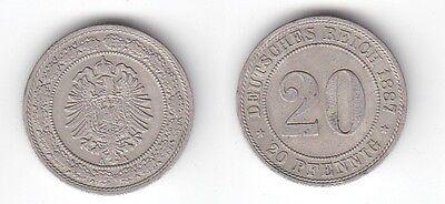 20 Pfennig Nickel Münze Kaiserreich 1887 A, Jäger 9  (115143)