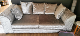 Crushed 3 seater sofa with cushions