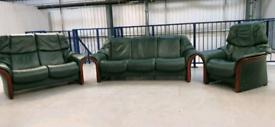 Ekornes stressless 3 seat recliner & 2 seater recliner & Chair Green 1