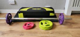 Body Pump weights, stepper and memory foam mat
