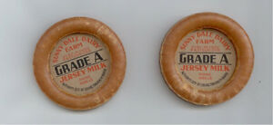 Two vintage waxed milk bottle caps Sunny Dale Dairy Farms OHIO