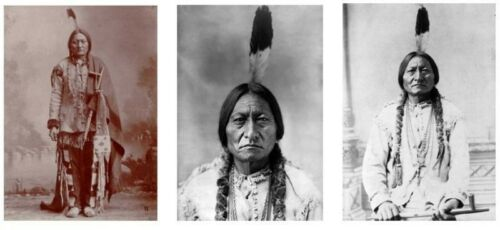 Chief Sitting Bull 3 PHOTOS LOT,1885 1889 Lakota Sioux, Native American Indian