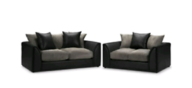 Dylan 3+2 Seater sofa Black or Grey Faux Leather and Jumbo Cord