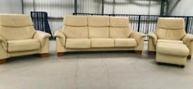 Ekornes stressless Leather 3 seater sofa recliner & 2 x recliner chair