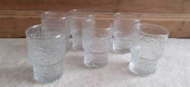 Vintage Set Of 6 Whitefriars Crystal Glass Tumblers Glasses
