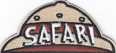 """SAFARI"" HAT PATCH-Iron On Embroidered Applique/Wild Animals, Zoo, Jungle,Trip , used for sale  Shipping to India"