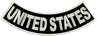"12"" Bottom Rocker  UNITED STATES , Sew-On biker patch - no club, lone wolf black"