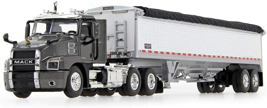 First Gear 1/64 Scale Mack Anthem Day Cab & Wilson Grain Trailer Gray/White NEW
