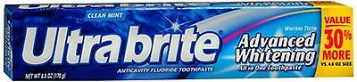 Ultra brite Advanced Whitening Toothpaste Clean Mint 6 oz (Pack of 4)