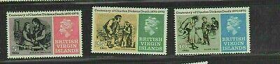 VIRGIN ISLANDS #223-225 1970 CHARLES DICKENS MINT VF NH O.G a
