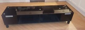 Tv cabinet / stand glass wood black
