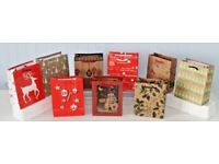 JOB LOT of 100 Christmas Xmas Gift Bags with Drawstring Handles in 10 Designs