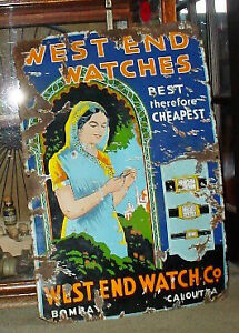 Antique 1940s Porcelain Metal Watch Advertising sign
