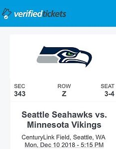 Seahawks Tickets (vs. Chargers & vs. Vikings) @ Seattle