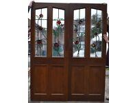 Pair of leaded light stained glass internal doors. R309. NATIONWIDE DELIVERY!!