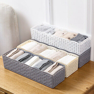 Firm Organizer Storage Box Tie Bra Socks Drawer Cosmetic Divider Storage Boxs UK
