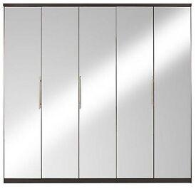 Prague 5-door Mirrored Wardrobe. GREY. H 201, W 203, D 52 cm